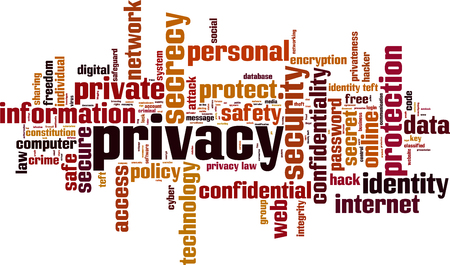 Privacy word cloud concept. Vector illustration