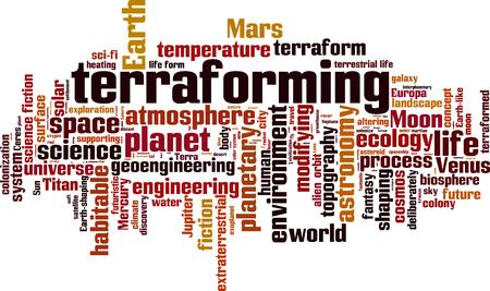 habitable: Terraforming word cloud concept. Vector illustration