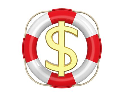 American dollar with lifebuoy, 3D rendering, isolated on white