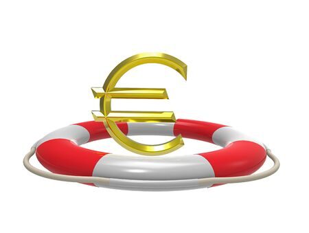 Euro with lifebuoy, 3D rendering, isolated on white Stock Photo