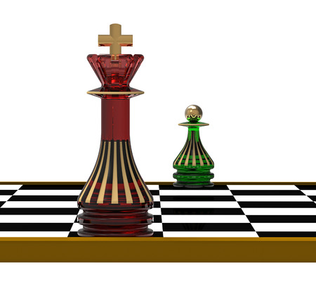 King and Pawn on Chessboard, 3D Render