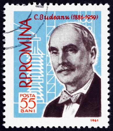 constantin: ROMANIA - CIRCA 1961: a stamp printed in Romania shows Constantin Budeanu, Romanian Electrical Engineer, and Electrical Formula, circa 1961 Editorial