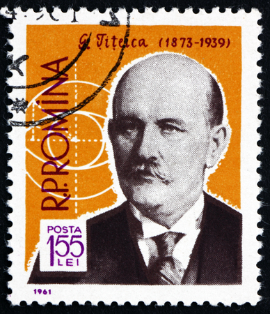 ROMANIA - CIRCA 1961: a stamp printed in Romania shows Gheorghe Titeica, Romanian Mathematician, and Geometrical Symbol, circa 1961
