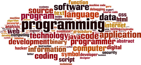 debugging: Programming word cloud concept. Vector illustration