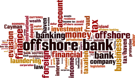 Offshore bank word cloud concept. Vector illustration