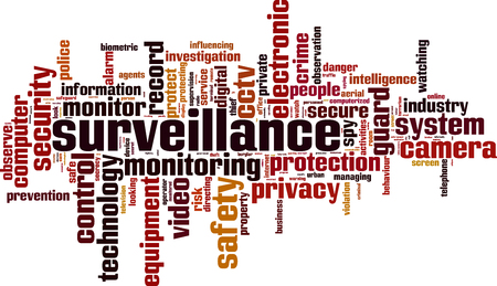 on the lookout: Surveillance word cloud concept. Vector illustration