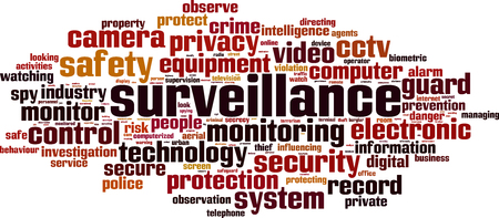 Surveillance word cloud concept. Vector illustration