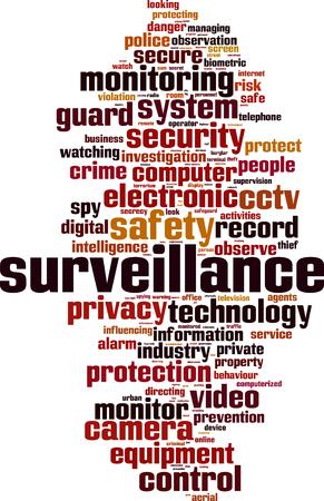 observance: Surveillance word cloud concept. Vector illustration