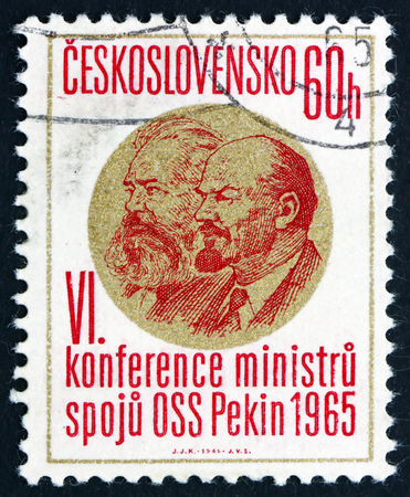 peking: CZECHOSLOVAKIA - CIRCA 1965: a stamp printed in Czechoslovakia shows Marx and Lenin, 6th Conference of Postal Ministers, Peking, circa 1965