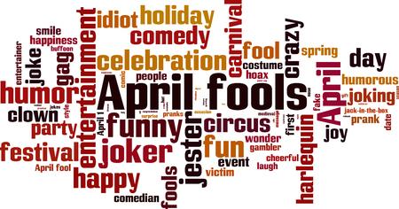 joking: April fools word cloud concept. Vector illustration