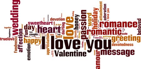 I love you word cloud concept. Vector illustration