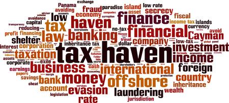 avoiding: Tax haven word cloud concept. Vector illustration Illustration