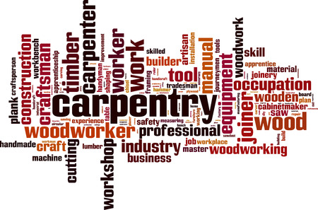 Carpentry word cloud concept. Vector illustration