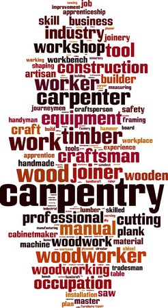 joinery: Carpentry word cloud concept. Vector illustration