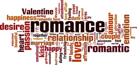 Romance word cloud concept. Vector illustration
