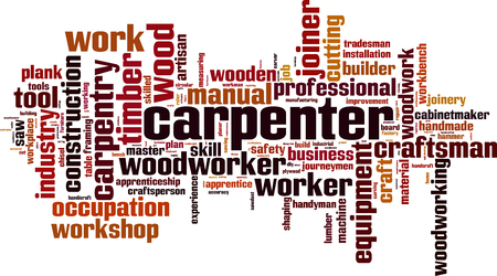 apprenticeship: Carpenter word cloud concept. Vector illustration