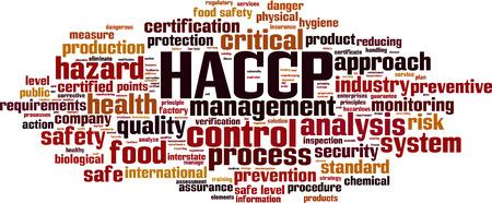 HACCP-woordwolkconcept. Vector illustratie