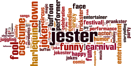 comedian: Jester word cloud concept. Vector illustration
