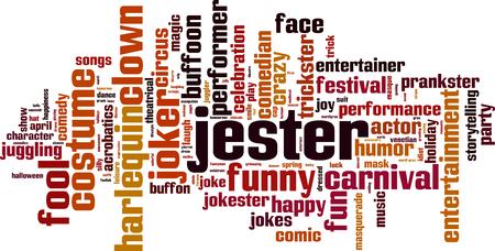 prankster: Jester word cloud concept. Vector illustration