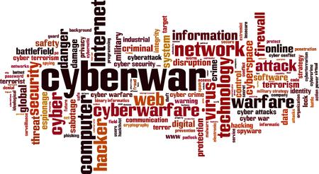 Cyberwar word cloud concept. Vector illustration