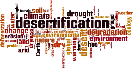 Desertification word cloud concept. Vector illustration Illustration