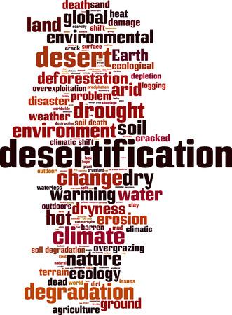 erosion: Desertification word cloud concept. Vector illustration Illustration