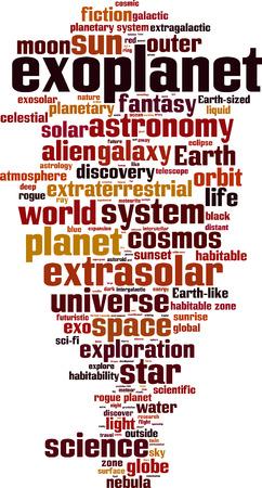 earthlike: Exoplanet word cloud concept. Vector illustration