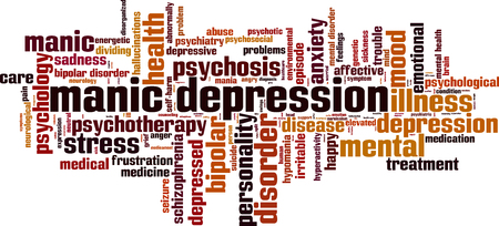 mania: Manic depression word cloud concept. Vector illustration