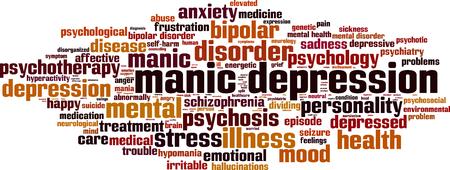 manic: Manic depression word cloud concept. Vector illustration