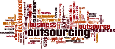 Outsourcing word cloud concept. Vector illustration Illustration