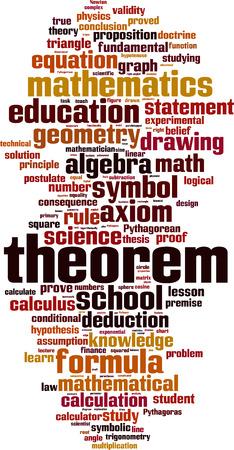 teorema: Theorem word cloud concept. Vector illustration