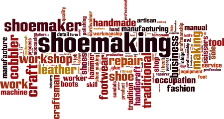 Shoemaking word cloud concept. Vector illustration