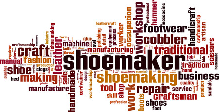 Shoemaker word cloud concept. Vector illustration