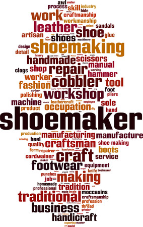 clogs: Shoemaker word cloud concept. Vector illustration