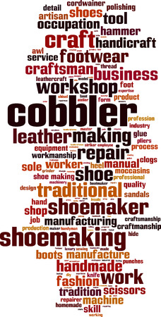 clogs: Cobbler word cloud concept. Vector illustration