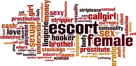 Female escort word cloud concept. Vector illustration