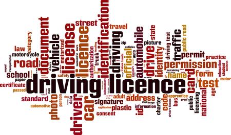 Conducir palabra nube concepto de licencia. ilustración vectorial Ilustración de vector