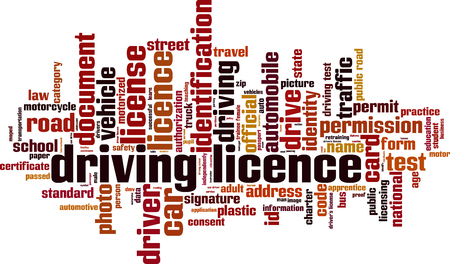 Driving license word cloud concept. Vector illustration