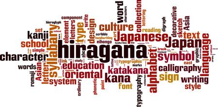 kana: Hiragana word cloud concept. Vector illustration