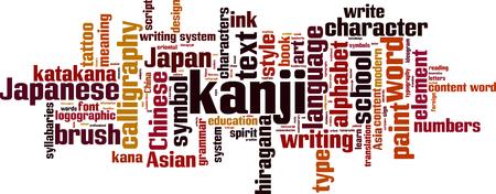 kana: Kanji word cloud concept. Vector illustration