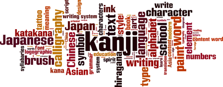 Kanji word cloud concept. Vector illustration