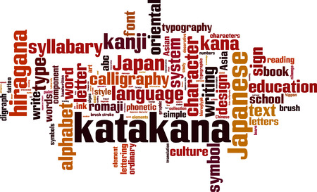 kana: Katakana word cloud concept. Vector illustration
