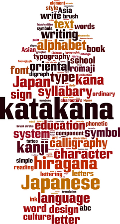 lingual: Katakana word cloud concept. Vector illustration
