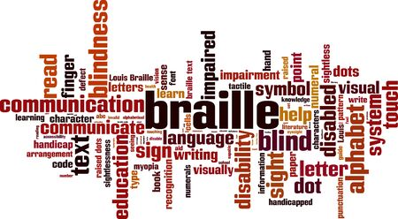 Braille word cloud concept. Vector illustration