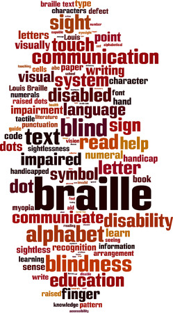 braille: Braille word cloud concept. Vector illustration