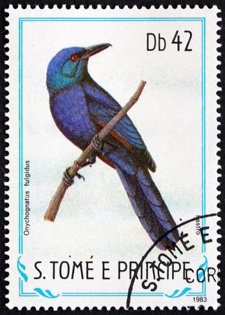 SAO TOME AND PRINCIPE - CIRCA 1983: a stamp printed in Sao Tome and Principe shows Chestnut-winged Starling, Onychognathus Fulgidus, Bird, circa 1983