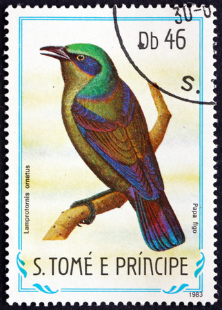 principe: SAO TOME AND PRINCIPE - CIRCA 1983: a stamp printed in Sao Tome and Principe shows Principe Starling, Lamprotornis Ornatus, Endemic Bird, circa 1983 Editorial