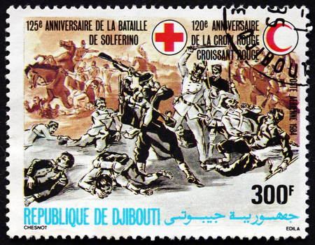 battle cross: DJIBOUTI - CIRCA 1984: a stamp printed in the Djibouti dedicated to 125th Anniversary of Battle of Solferino and 120th Anniversary of Red Cross, circa 1984 Editorial