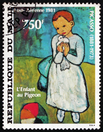 MALI - CIRCA 1981: a stamp printed in Mali shows Child Holding a Dove, Painting by Pablo Picasso, Spanish Painter, circa 1981