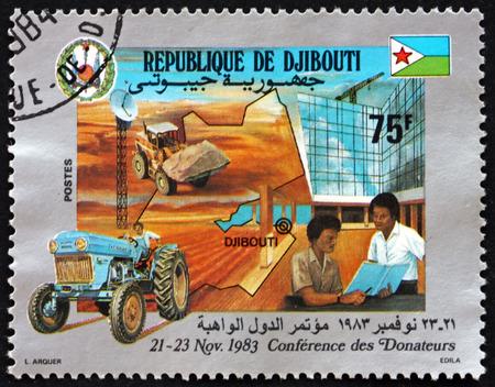 djibouti: DJIBOUTI - CIRCA 1983: a stamp printed in the Djibouti dedicated to Conference of Donors, circa 1983